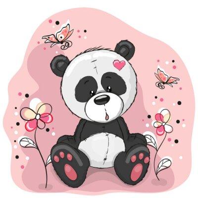 Adesivo Panda con fiori