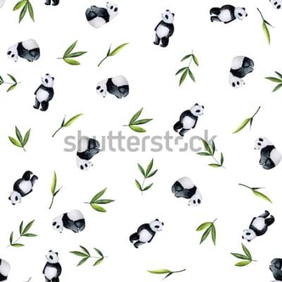 Adesivo Panda e modello di bambù su fondo bianco. Acquerello dipinto a mano