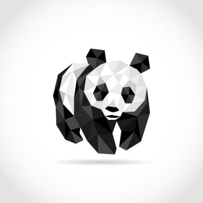 Adesivo panda in stile poligono. design a basso poli in triangoli