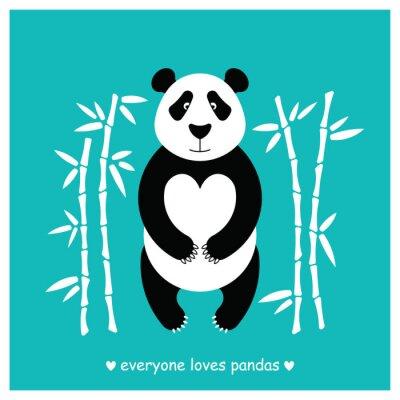 Adesivo Panda orso piatta. Panda animale isolato.