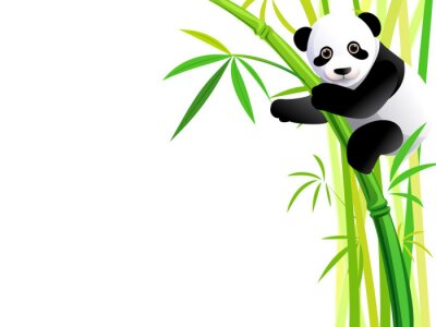 Adesivo panda su bambù
