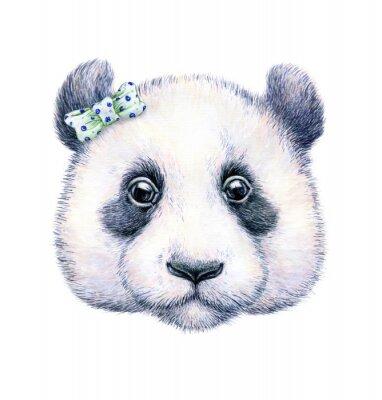 Adesivo Panda su sfondo bianco. Disegno ad acquerello. Illustrazione per bambini. Lavoro manuale