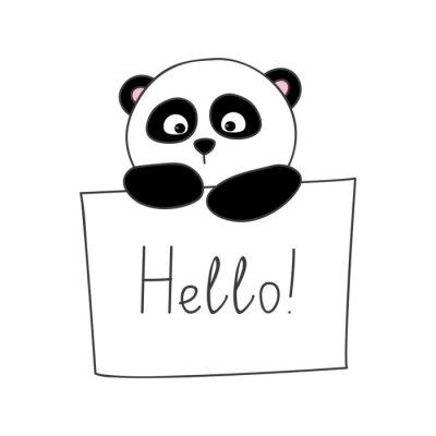 Adesivo Panda sveglio del fumetto isolato su bianco
