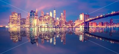 Adesivo Panorama del Midtown di Manhattan al crepuscolo con i grattacieli, New York City