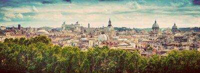 Adesivo Panorama della città antica di Roma, Italia. Annata