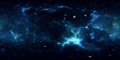 Adesivo Panorama della nebulosa spaziale a 360 gradi, proiezione equirettangolare, mappa ambientale. Panorama sferico HDRI. Spazio sfondo con nebulosa e stelle