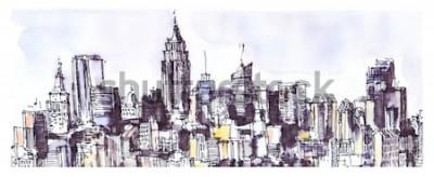 Adesivo Panorama di New York City. Acquarello, grafica a inchiostro. Architettura