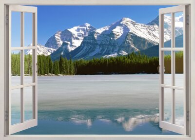 Adesivo Panoramic view to Canadian Rockies Mountains from open window