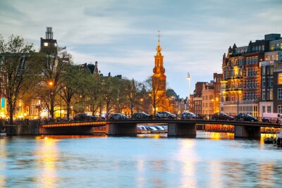 Adesivo Panoramica di Amsterdam con Munttoren