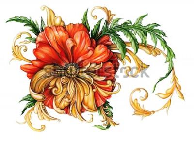 Adesivo Papavero arancione con pergamene dorate 1
