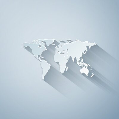 Adesivo Paper cut World map icon isolated on grey background. Paper art style. Vector Illustration