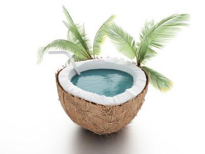 Adesivo paradiso di cocco. concetto di estate su sfondo bianco