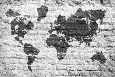 Adesivo Parete bianca e una mappa immagine del mondo
