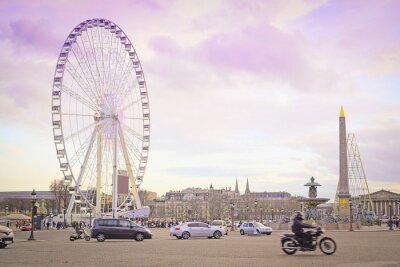 Adesivo Parigi, Francia - 7 febbraio 2016: ruota panoramica su Place de la Concorde a Parigi, Francia