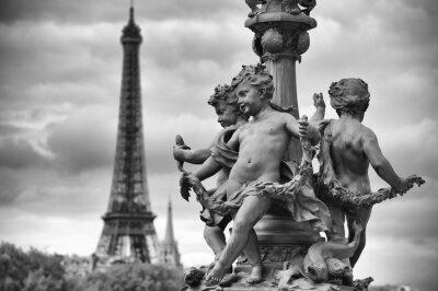 Adesivo Parigi Francia Torre Eiffel con statue di Cherubini