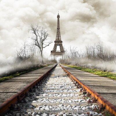 Adesivo Parigi in treno d'epoca
