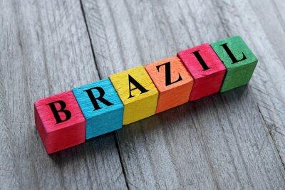 Adesivo Parola Brasile su cubi di legno colorati
