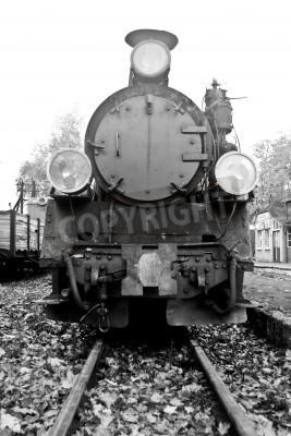Adesivo parte del vecchio treno a vapore in bianco e nero