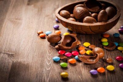Adesivo Pasqua sfondo di cioccolato