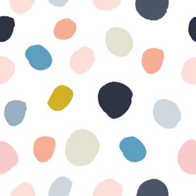 Adesivo Pastello rosa polvere, blu navy, salmone, beige, grigio acquerello dipinto a mano pois seamless su sfondo bianco. Cerchi di inchiostro acrilico, struttura rotonda dei coriandoli. Vettore astratto, big