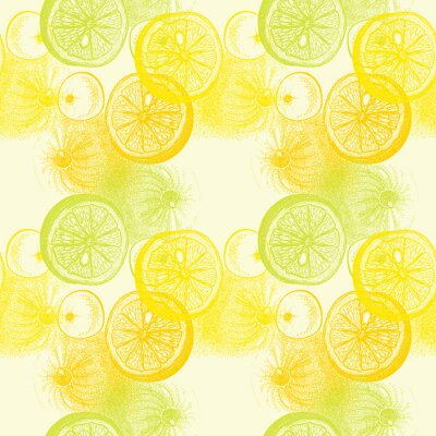 Adesivo Pattern di sfondo trasparente con disegnata a mano arance agrumi. drawi