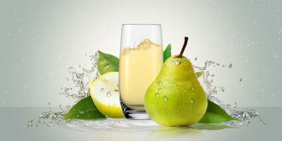 Adesivo Pears with a glass of juice.