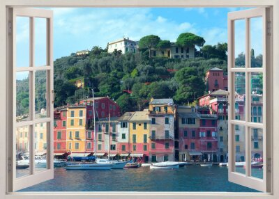 Adesivo pen finestra di visualizzazione di vecchia Portofino, Italia