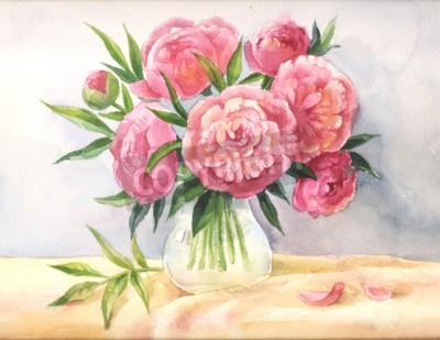 Peonie In Un Acquarello Di Vaso Sketch Di Fiori Rosa Illustrazione