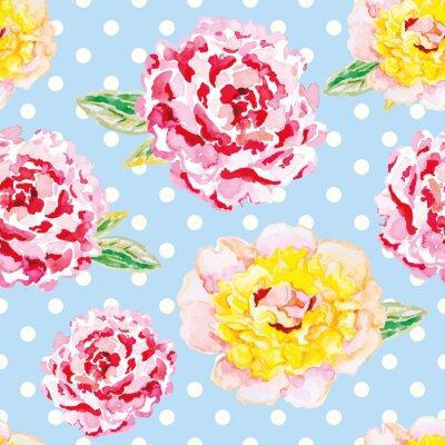 Adesivo peonie rosa e gialli sulla luce blu a pois sfondo. Acquerello modello senza soluzione di continuità con i fiori. Shabby chic.