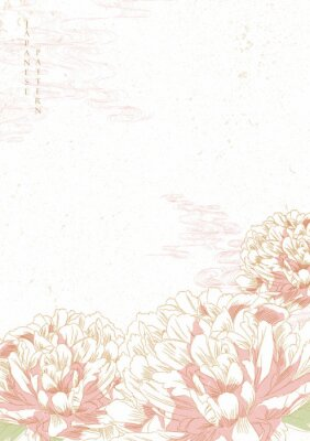 Adesivo Peony flower background vector. Japanese wave template. Save the date invitation card.