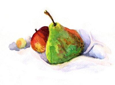 Adesivo pera e mela, acquarello