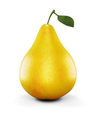 Adesivo Pera matura giallo su sfondo bianco. 3d.