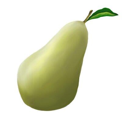Adesivo Pera verde su sfondo bianco
