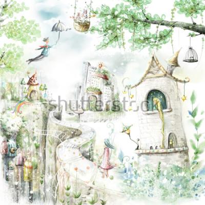 Adesivo percorsi forestali magici e personaggi fiabeschi