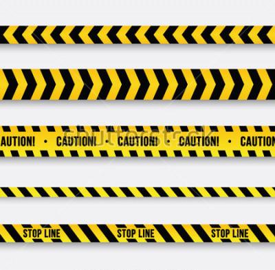 Adesivo Pericolo e linea di polizia. Nastro di avvertimento giallo. Illustrazione vettoriale