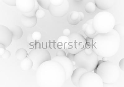 Adesivo Perle bianche volano nello spazio. Le sfere opache della sfera 3d stanno cadendo - rendono l'illustrazione. Sfondo astratto alla moda alla moda