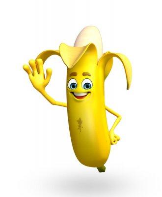 Adesivo Personaggio dei cartoni animati di frutta della banana