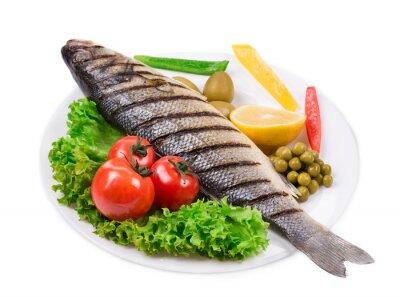 Adesivo Pesce alla griglia con verdure.