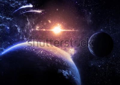 Adesivo Pianeta oscuro e luna sopra una stella luminosa - Elementi di questa immagine fornita dalla NASA
