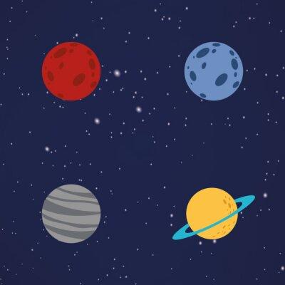 Adesivo pianeti Cartoon astratti