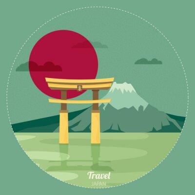 Adesivo Piatto progettazione del paesaggio del Giappone illustrazione vettoriale