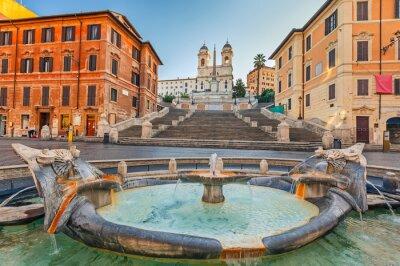 Adesivo Piazza di Spagna a mattina a Roma, Italia