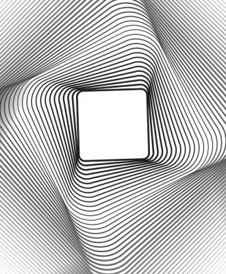 Adesivo piazza optical art sfondo in bianco e nero