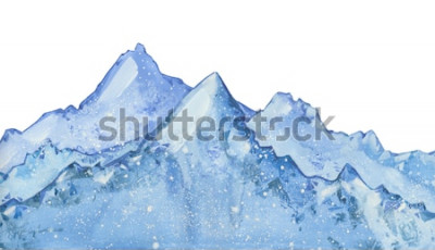 Adesivo picco invernale blu nevoso dell'acquerello. Illustrazione disegnata a mano di inverno su fondo bianco.