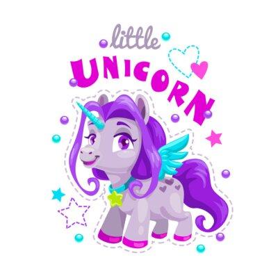 Adesivo Piccola etichetta di unicorno simpatico cartone animato. Illustrazione di principessa dolce pony.