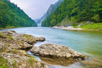 Adesivo Pietre sulla riva del fiume in montagna. La gola del fiume Dunajec