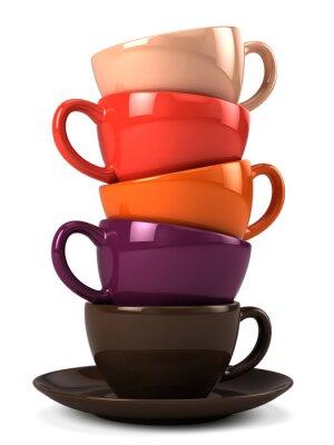 Adesivo Pila di tazze di caffè isolato su bianco