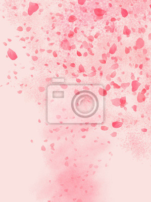 Adesivo Pink colored Rose leaves flowing in shaped of storm background illustration