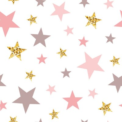 Adesivo Pink seamless pattern gold glitter stars pink for Christmas backgound or baby shower sweet girl design