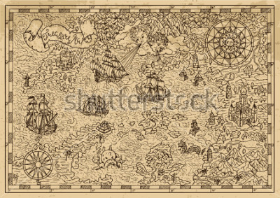 Adesivo Pirate Map with old sailing ships, fantasy creatures, treasure islands. Pirate adventures, treasure hunt and old transportation concept. Hand drawn vector illustration, vintage background